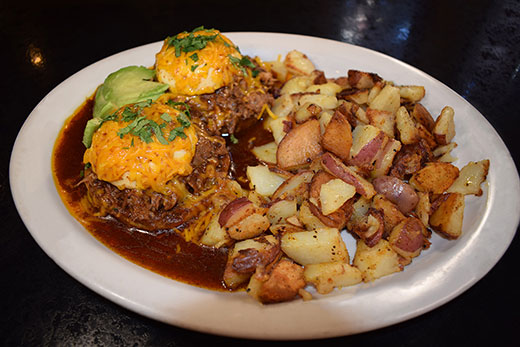 Breakfast Platter with Potatoes and Carnitas Bennie