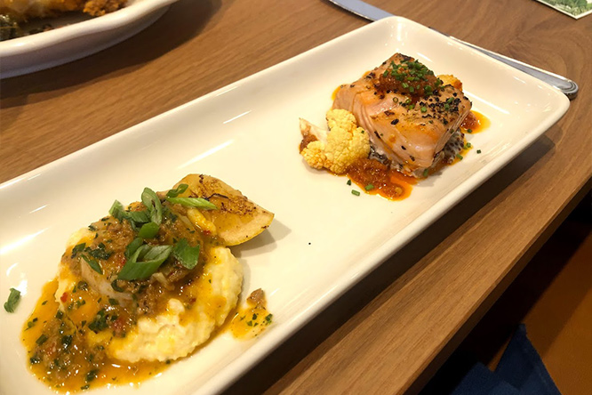 Tupelo Honey Shrimp and Grits & Grilled Patagonian Salmon