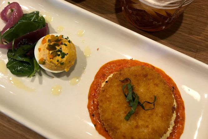 Famous fried green tomatoes & deviled eggs, paired with nitro sweet tea & Tumeric-ginger tonic